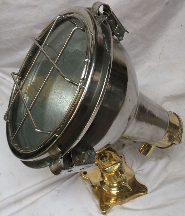 Nautical Vintage  Marine cargo ship brass & steel deck light 100% Original -1099
