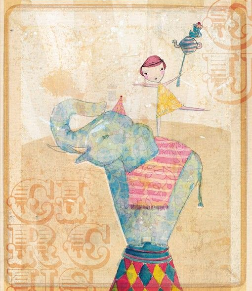 join the circus art print 7x7 by lovelysweetwilliam on Etsy, $24.00