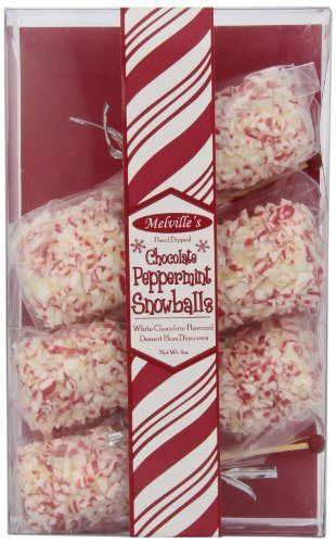 Melville Candy Peppermint Snowballs, White chocolate, Net Wt. 4-Oz (Pack of 6) - http://bestchocolateshop.com/melville-candy-peppermint-snowballs-white-chocolate-net-wt-4-oz-pack-of-6/