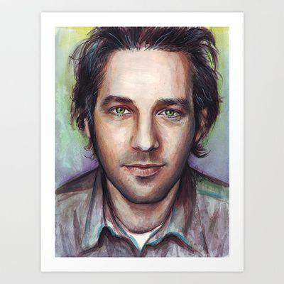 Paul Rudd Portrait Art Print by Olechka - $17.00