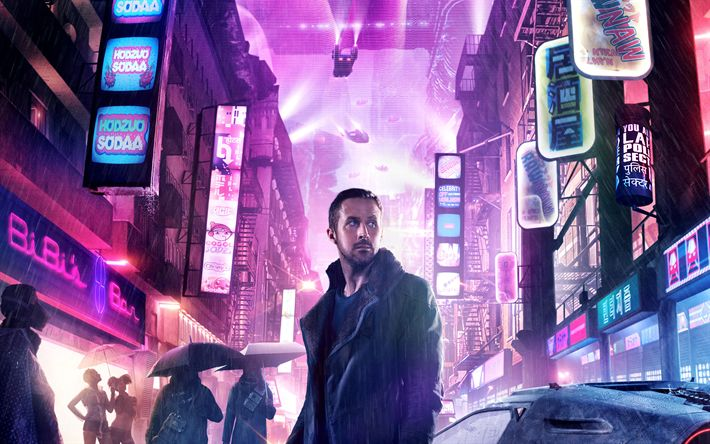 Download wallpapers Blade Runner 2049, 2017, Officer K, Ryan Gosling, 4k, new movies, poster, Canadian film actor