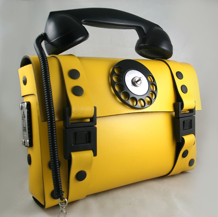Industrial Gothic Steamapunk yellow leather telephone bag limited edition. $280.00, via Etsy.