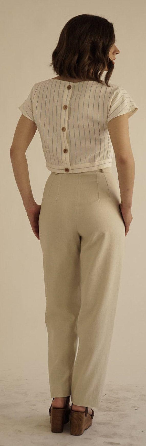 High waisted linen trousers.