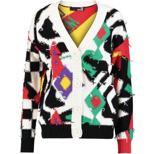 Love Moschino Patchwork cotton and wool-blend cardigan (£209) ❤ liked on Polyvore featuring tops, cardigans, multi, colorful tops, cardigan top, patchwork top, multi color cardigan and multi color tops