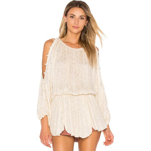Free People Little Shine Tunic (€66) ❤ liked on Polyvore featuring tops, tunics, blouses, metallic tunic, metallic tops, open shoulder tops, embellished tunic and pink cold shoulder top