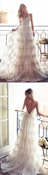 2017  A-line Long  Spaghetti V-back Sexy Lace Bridal Gown, Wedding Party Dress, WD0046