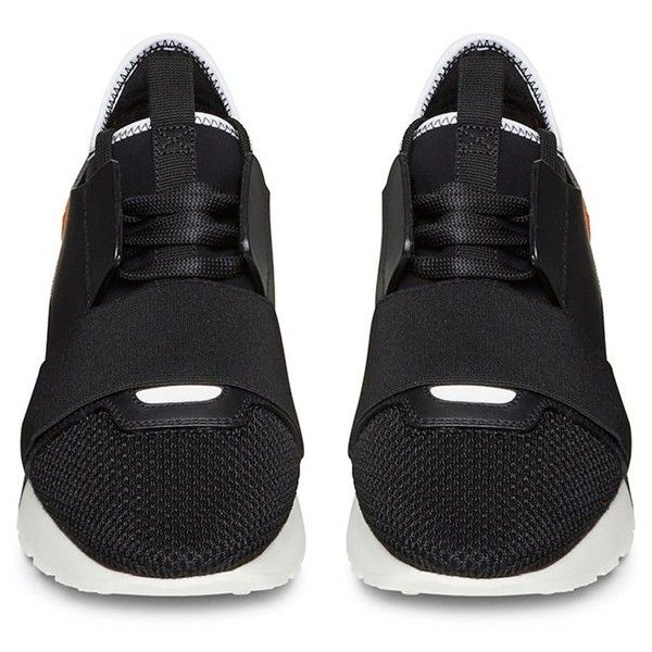 Balenciaga Black and Orange Women's Trainer (77560 RSD) ❤ liked on Polyvore featuring shoes, sneakers, black sneakers, kohl shoes, balenciaga trainers, black shoes and orange sneakers