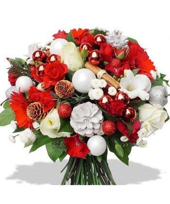 Buchet de sarbatori cu flori si accesorii albe si rosii