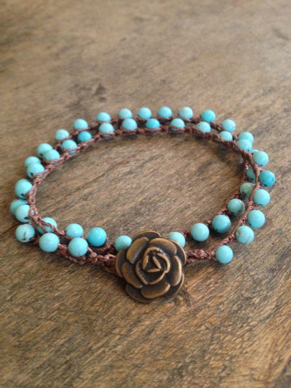 "Turquoise Crochet Multi Wrap Bracelet ""Boho Chic"""