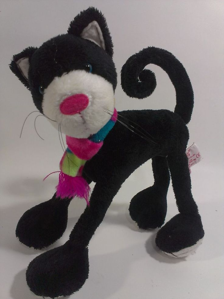 Russ WAGS to WHISKERS Black CAT Plush Poseable Flexible Kitty Kitten 22079  #Russ