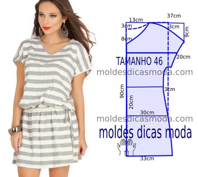 Hoje vou propor um molde de vestido riscas casual para facilitar a modelagem aí em casa. O molde de vestido está com as medidas correspondentes ao tamanho único. A ilustração do molde de vestido não i