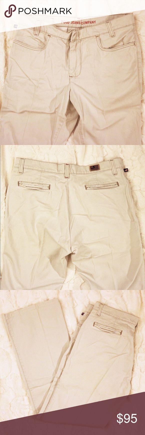 RL Cream Pants Straight leg cream pants with front and back pockets. 6X31. 100% cotton Ralph Lauren Pants Straight Leg