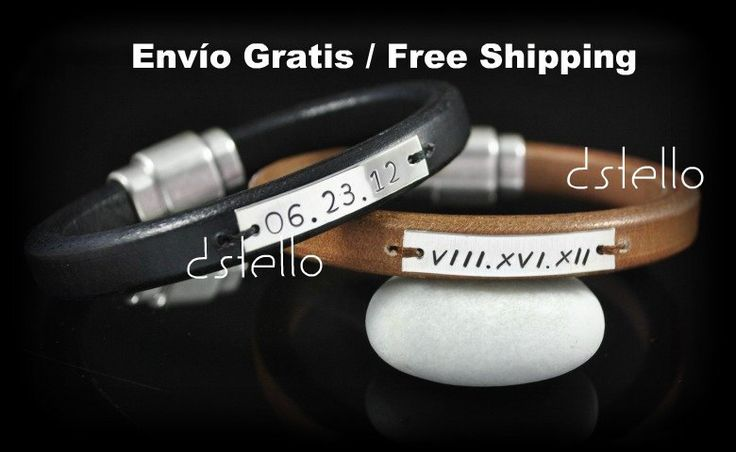 Engraved Leather Bracelet Sterling Silver ID by Dstello on Etsy, €50.00