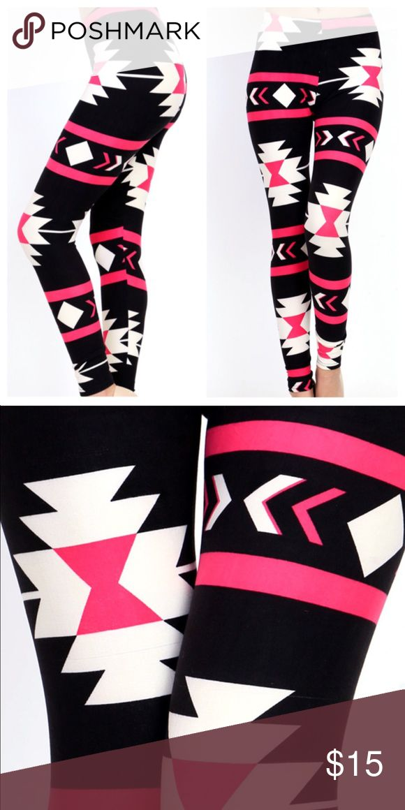 🆕New Buttery Soft Aztec Leggings One Size One size super soft leggings just peachy 92% polyester and 8% spandex. Lovely Aztec design beautiful pink. Care instructions wash inside out cold delicate cycle or hand wash and hang dry. Evolve Always Pants Leggings
