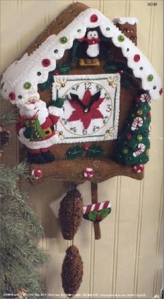 Bucilla Felt Applique Christmas Time Cuckoo Clock