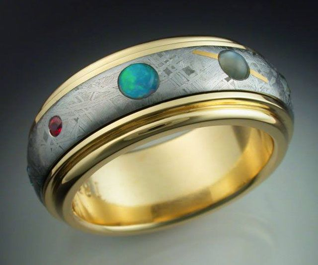 9 Planets Ring with Spinning Meteorite Band | Gold bands ...