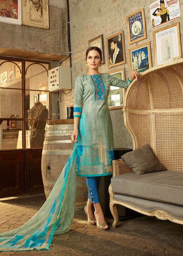 Blue Cotton Straight Cut Syle Salwar Kameez