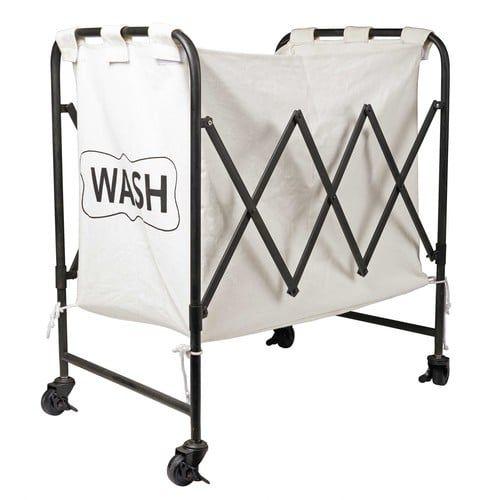 Wäschekorb aus bedrucktem Stoff und schwarzem Metall GUSTAVE