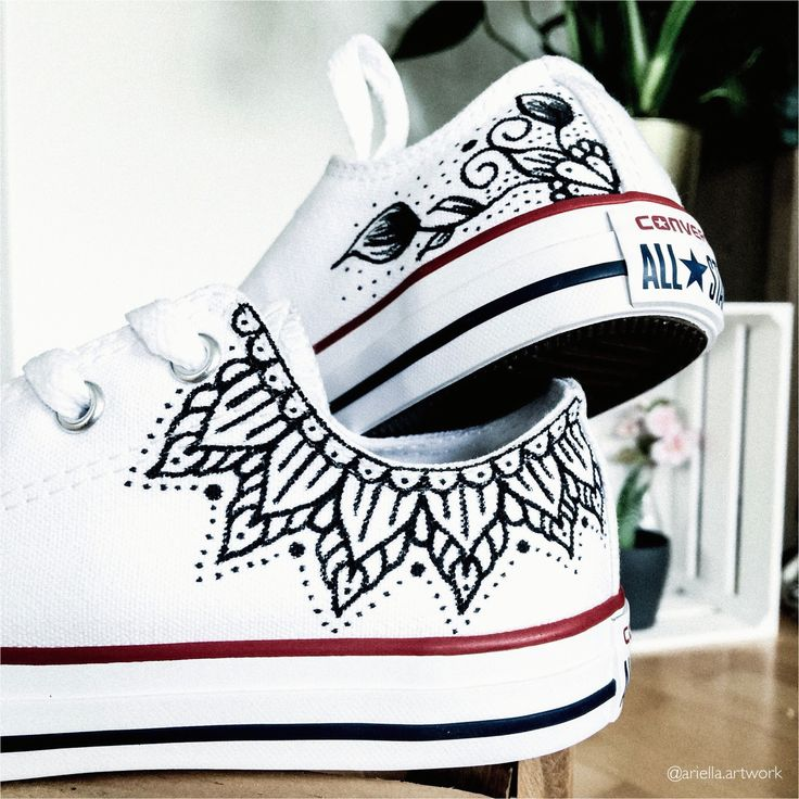Diy Painting Shoes Diy Mandala Auf Schuhe Malen Mit Floralen Designs