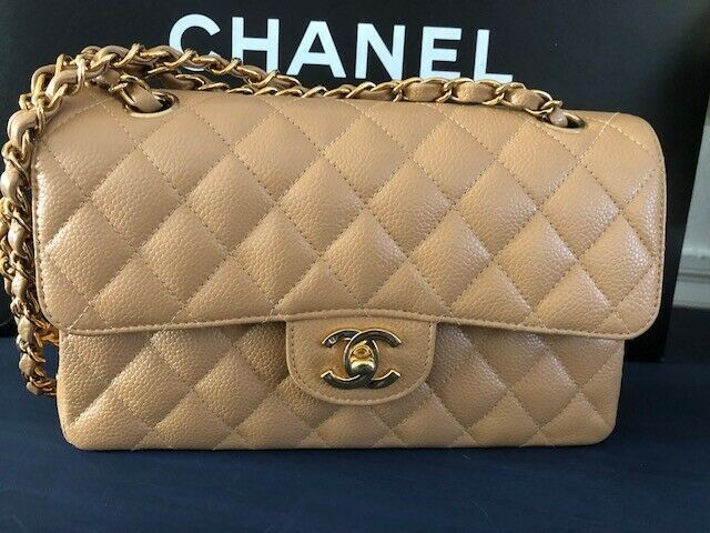 efbf476bf999 Authentic CHANEL Classic Double Flap Quilted Carmel Leather Caviar Bag Gold