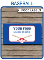 Baseball Party Food Labels template