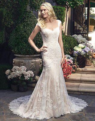 2017 mermaid Lace Ivory\White Wedding Dress Bridal Gown Custom Size6-8-10 12 14