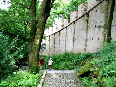 """""""Hunger Wall"""" in Petrin Park, Prague.  According to the legend Charles started the wall for humanitarian reasons, to employ and feed people during the famine of 1360-61, when the harvests were very poor."""