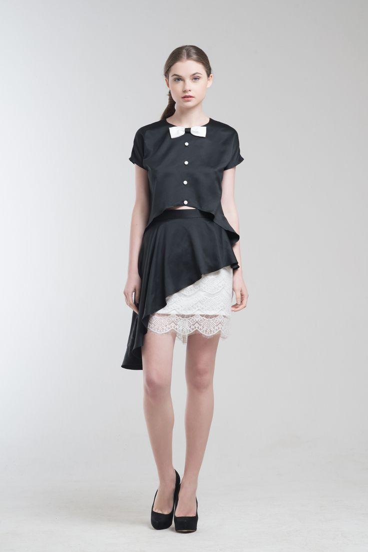 Crest Top in Black and Reiss Skirt from Jolie Clothing  #JolieClothing www.jolie-clothing.com  #Fashion #designer #jolie #Charity #foundation #World #vision #indonesia  #online #shop #stefanitan #fannytjandra #blogger