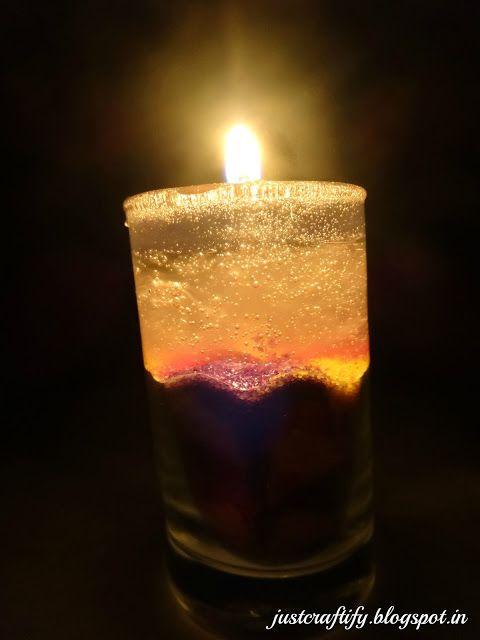 Sand art Gel wax candle. For detailed procedure, visit http://justcraftify.blogspot.in/2016/02/sand-art-gel-wax-candle.html