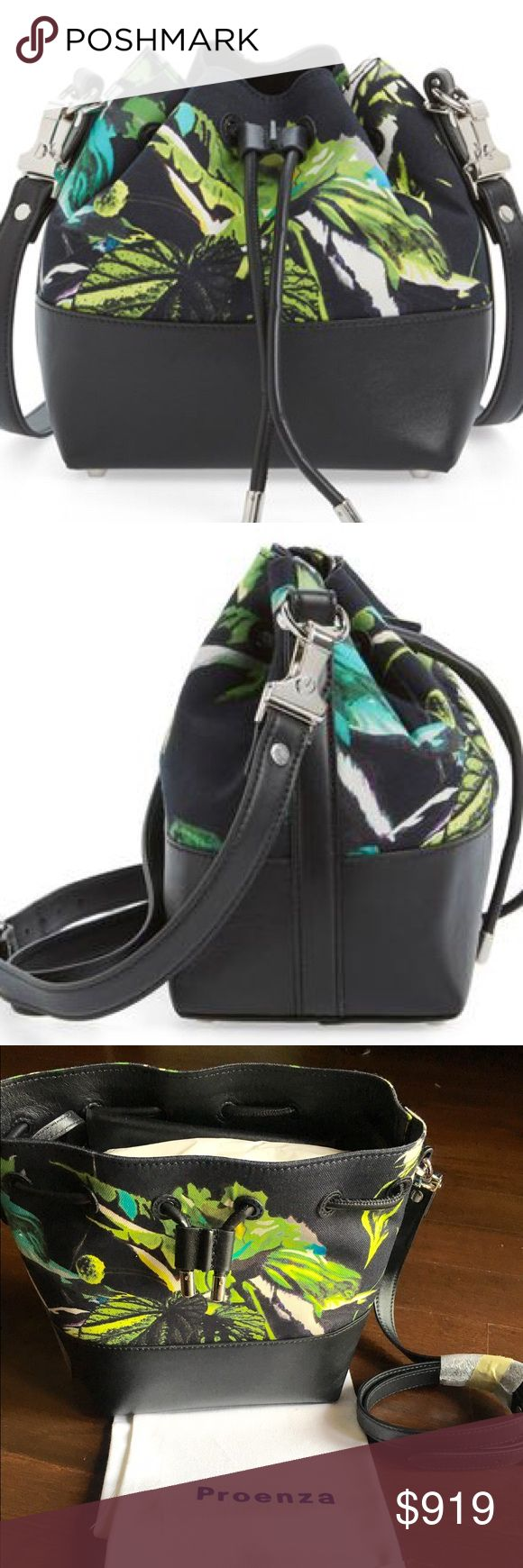 Proenza Schouler small bucket bag A tropical floral-print finish adds to the clean, contemporary vibe of an Italian-made bucket bag accented with polished silvertone hardware and calfskin leather. Drawstring closure. Optional, adjustable crossbody strap. Removable snap-flap pouch. Protective metal feet. Canvas/calfskin leather. By Proenza Schouler; made in Italy. Designer Handbags. Proenza Schouler Bags Shoulder Bags