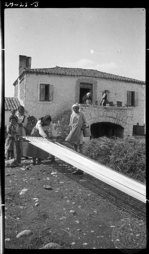 Parapoungia. Arranging threads. Creator:Dorothy Burr Thompson Leuctra Region:Boeotia Country:	 Greece Date: 1924 Repository:	   	ASCSA ARCHIVES Collection Title:	   	Dorothy Burr Thompson