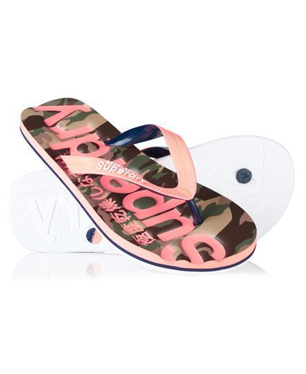 eba518053  superdry Superdry women s classic camo flip flops. A pair of comfortable  beach flip flops featuring a camo print and a debossed Superdry logo print  on the ...
