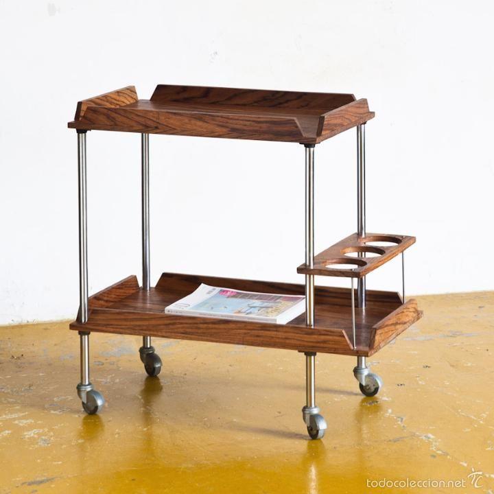 Mesita camarera con ruedas madera de teca maciza francia for Camarera cocina mueble