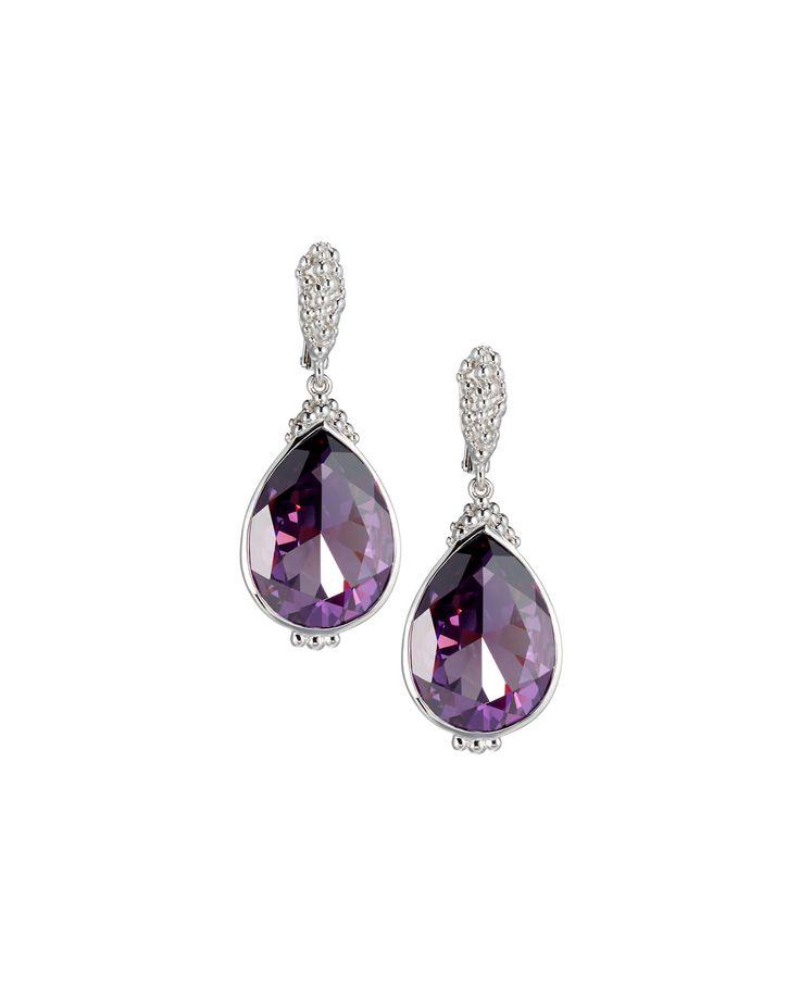 Judith Ripka Bermuda Pear Crystal Drop Earrings, Purple, Women's