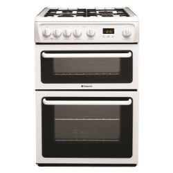 Hotpoint HAG60P 60cm Double Oven Gas Cooker - White | Appliances Direct