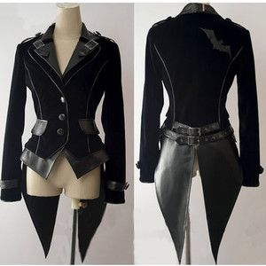 cyber goth fashion | Cyber Goth Punk Rave Vampire Clothing Black Jacket Men Women SKU ...