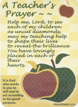 A Teachers Prayer Pocket Card. Some days I think I new this posted on my desk!!