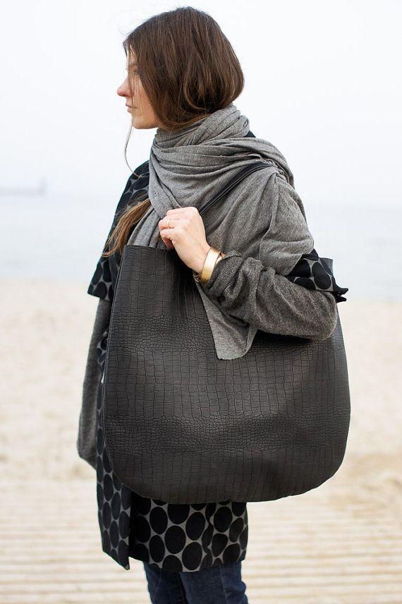 Black Oversized Leather Hobo Bag Tote bag in black by patkas