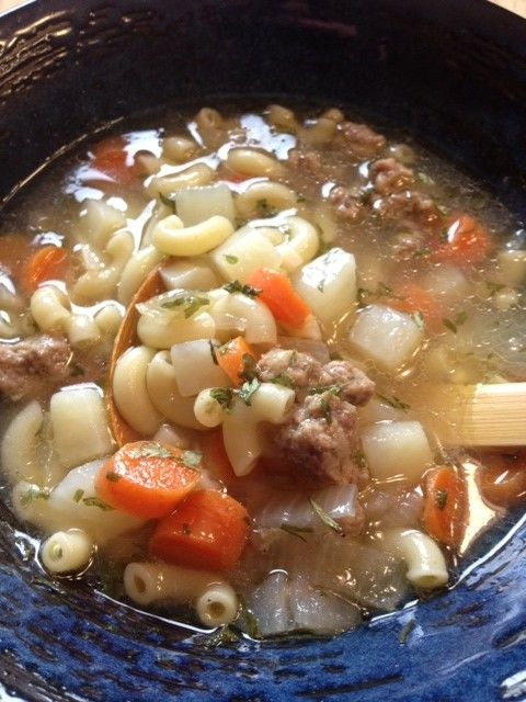 Chilly days ahead will warm up w #Beef Macaroni Sopas, #Filipino Noodle Soup