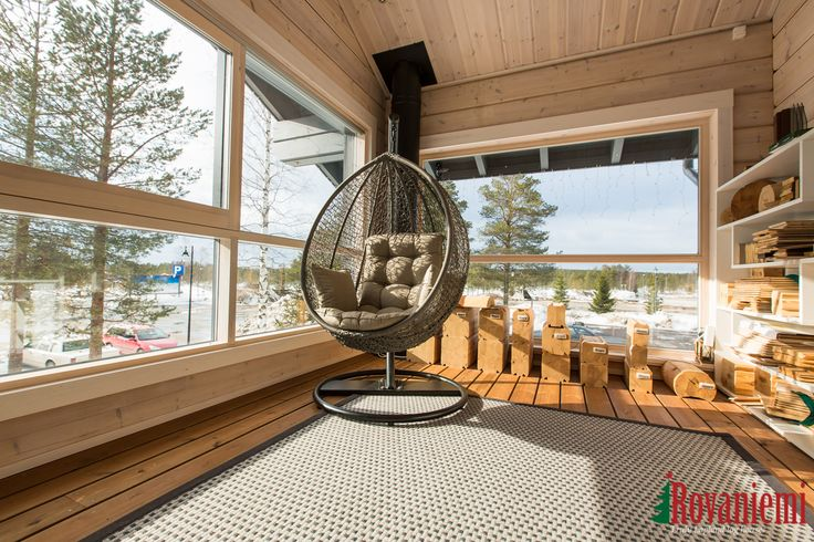 Kieppi –Rovaniemi Log House Head Office. Terrace on the 2nd floor.