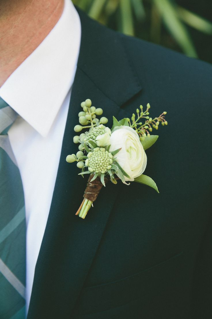 Ranunculus, Anemone and Eucalyptus Boutonniere