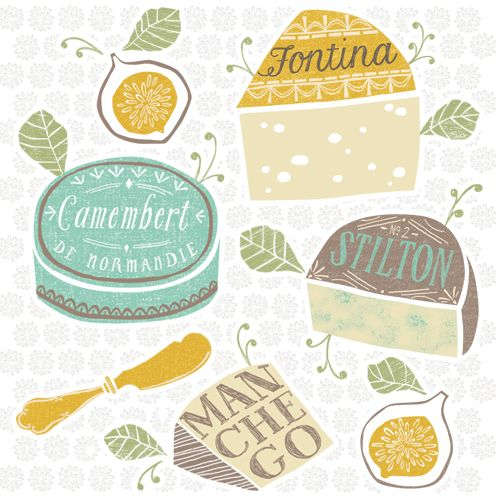 Cheeses Illustration by Maeve Parker for 2015 Food Calendar. www.maeveparker.com