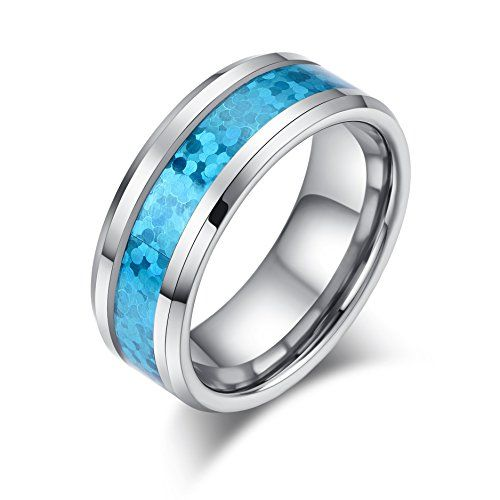RAUL FANT 8mm Mens Tungsten Carbide Ring Blue Opal Inlay Wedding Band Plished Beveled Edge