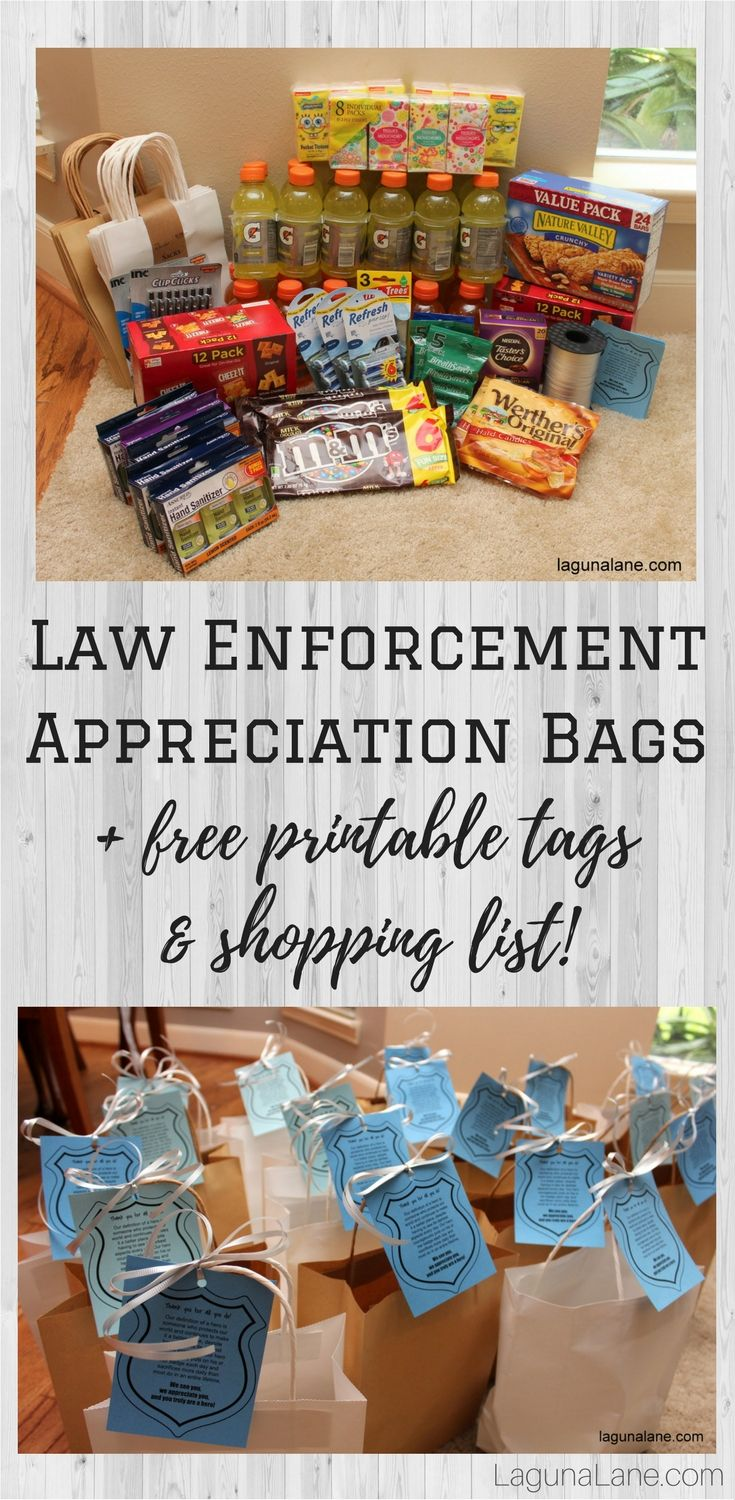 Support the police, sheriffs, constables, and others by creating law enforcement appreciation bags full of treats and useful items! Come get free printable tags and a shopping list.