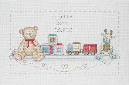 Anchor Kit ACS06 The Toy Shelf Birth Announcement Counted Cross Stitch Kit