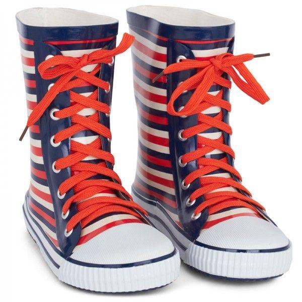 Little Marc Jacobs Orange Stripe Wellington Boots at alexandalexa.com