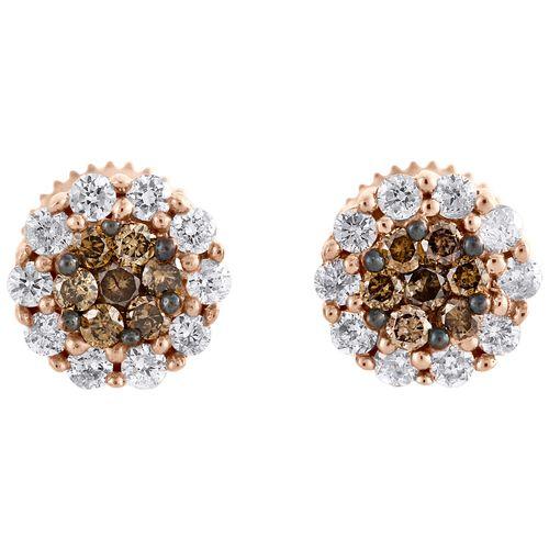 14K Rose Gold Round Cut Brown Diamond Flower Set Studs 7mm Fancy Earrings 1/2 CT