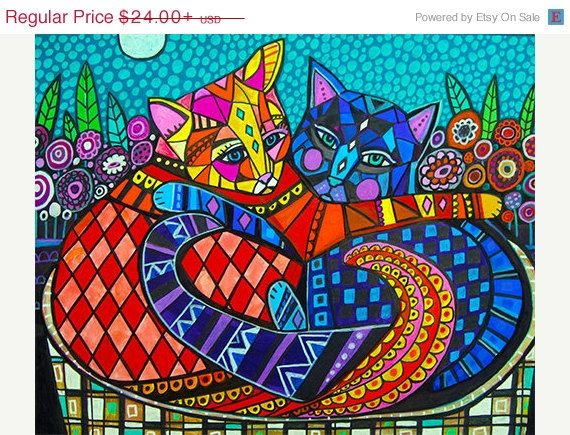 Surprise 50% Off Sale- 2 Cats Art Poster Print of Painting by Heather Galler (HG101)
