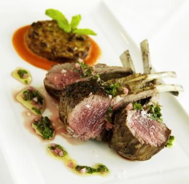 Rack of Lamb with Herb-Caper Sauce: For an elegant and simple, romantic dinner for two try this Rack of Lamb for Two with mint and caper sauce.