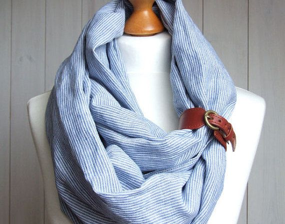 LINEN Infinity Scarf tube scarf with leather cuff, pure linen scarf, nautical style scarf on Etsy, $37.90
